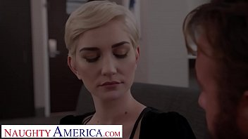 Naughty America Skye Blue models lingerie before fucking client