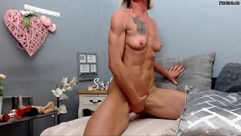 Milf with muscle Fit milf playing with her pussy
