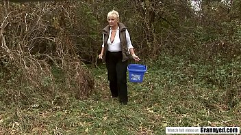 Blonde Mature Finds An Upset Man In The Woods