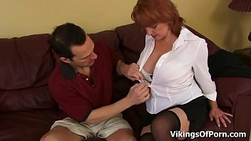 Big Boobed Redhead Housewife Calliste gets Pounded in Stockings thumbnail