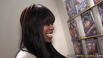 Busty ebony Angelica Wilson Works On Gloryhole Cocks