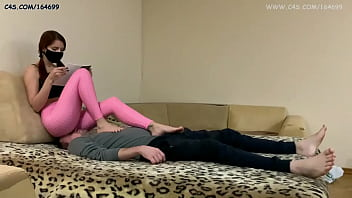Young Mistress In Pink Leggings Fullweight Facesitting Ignore Femdom and Makes Her Chair Slave Massage (Preview)