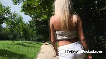 Blonde fucked on public park bench