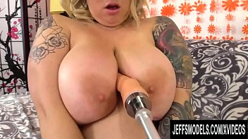 Fat Slut Kendra Lee Ryan Lets a Machine Mounted Dildo Plow Her Hairy Pussy
