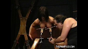 Busty bondage of Daniela in hardcore nipple clamped punishment and suffering lif