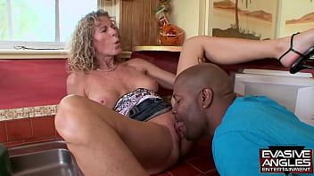 EVASIVE ANGLES Jade Jamison loves bending over for big black cocks, but only when the guys who own them agree to splatter the jizz all over this MILFs face.