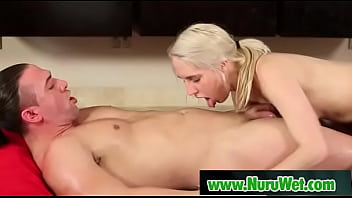 Blondie masseuse rides her wet body over her clients - Cadence Lux, TStone