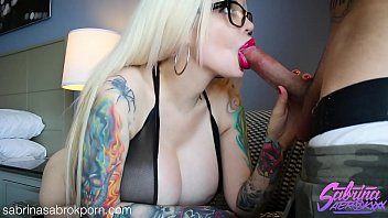 Sabrina Sabrok showing off her huge boobs sloppy deepthroat
