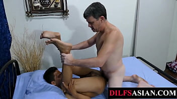 Asian twink barebacked by older guy after bj