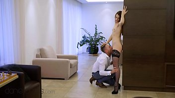 Dane Jones Petite redhead Charlie Red fucks in stockings and heels