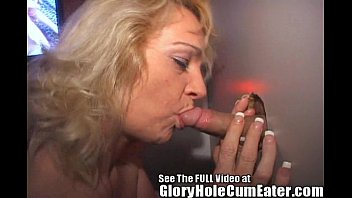 Mature Slut Eats Glory Hole Cum!