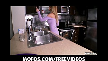 Stunning blonde wife strips in the kitchen and rubs herself to orgasm
