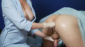 nurse makes prostate massage. fingering patient's ass. The patient licks her cunt. Puts doggystyle and fucks until he cums