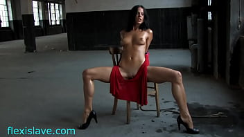 Fitness milf Alex Zothberg with red dress and spread legs tied up whipping 3 min