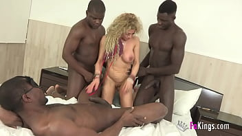 Super-MILF wants a wild round with 3 big dicked black dudes!