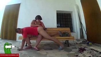 Spanking the ass for he and food of pussy for she in the bench outdoor. RAF022