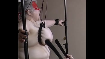 Tortured tits mature 14-jun-2020 full side view of udders being tortured sklavin slave esclave soumise