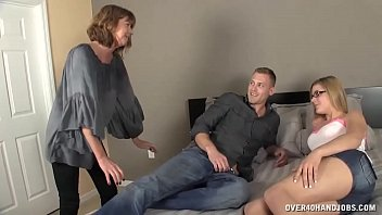 CoverMilf Gets Horny To See  Young Couple On The Bed
