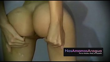 Latina slut with big booty taking a shower and I spy her