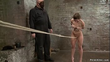 Slave gets crotch rope on hogtie