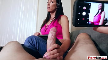 Mature stepmother Reagan Foxx gives a POV blowjob