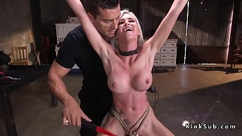 Busty blonde slave throat fucked