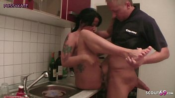 Son Seduce German Stepmom to Fuck in kitchen When Dad away