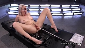 Natural blonde pounds machine and squirts