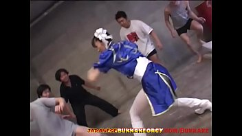 Asian girls in gang bang Chun-li cosplay japanese babe groped in huge bukkake gangbang