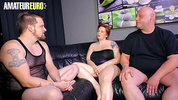 AMATEUR EURO - Redhead German Cathrin Swings With Two Guys