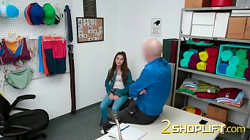 Rough sex in the office with a horny officer and a sexy shoplifter teen 6 min