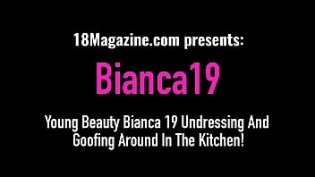 Young Beauty Bianca 19 Undressing And Goofing Around In The Kitchen!