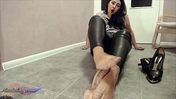 Walking with a dildo - Curvy milf oiled footjob dildo after walk