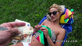 Yugo blowjob - Serbian babe takes off shorts and fucks in public