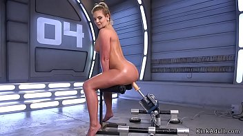 Oiled huge tits blonde fucks machine