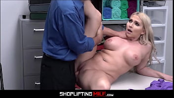 Big Tits Blonde Big Ass MILF Stepmom Cashier Christie Stevens Fucked By Security After Shoplifting Stepson Has Stolen Merchandise