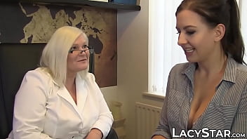 Lesbian doctor with young patient - Doctor lacey starr treats her patient with toys and tongue