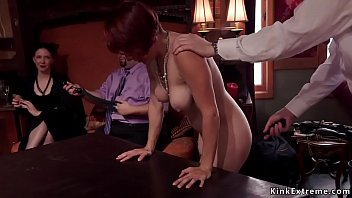 Hot asses subs vibed on table in party