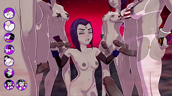 Teentitans having sex Raven gets a terrific bukkake, fucks and cums with a group of futas - sexgame