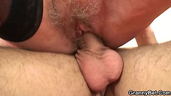 Picked up old blonde in stockings rides boy's cock