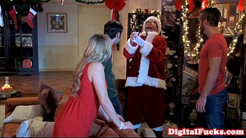 Making adult christmas pageant costumes Santa facializing beautiful babe after bj