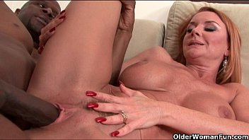 Milf's big tits get a cum coating