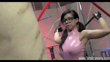 Painful whipping with Asian Mistress with glasses