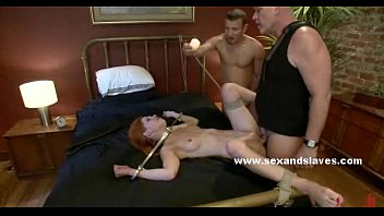 Redheads in sex bondage - Fire hair babe fucked hard in her sweet mouth then banged violently in threesome