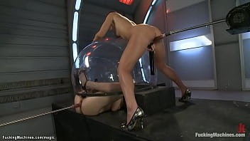 Lesbians machine fucked in doggy