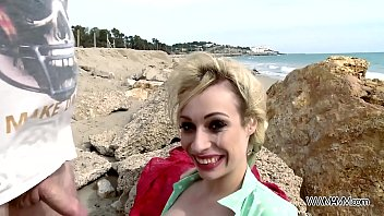 Wild beach fuck with busty blonde eating sperm