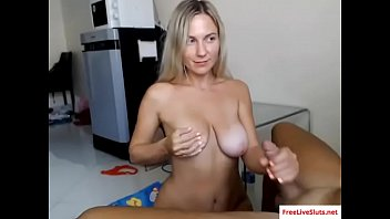 Amazing handjob and BJ by hot blonde babe