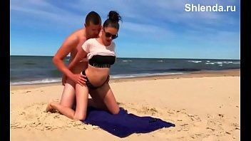 Young skinny russian teen first anal on beach outdoor