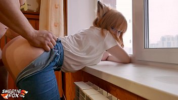 Lover Doggy Fuck Tight Pussy Redhead Near the Window