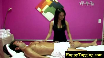 Big titted asian masseuse paid to suck